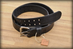 Quilted leather belt black