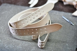 Quilted leather belt natural