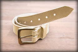 Quilted leather belt natural MOSAZ
