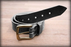 Quilted leather belt black MOSAZ