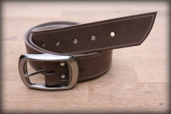 Leather belt with saddle groove brown BIG BUCKLE