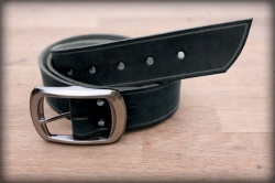 Leather belt with saddle groove black BIG BUCKLE