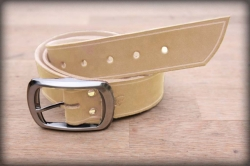 Leather belt with saddle groove natural BIG BUCKLE