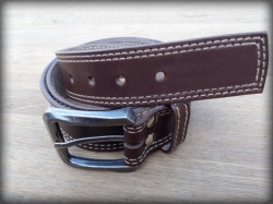 Leather belt double stitching brown
